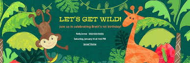 Jungle Theme Birthday Invitations Jungle Safari Party Evite