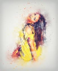 abstract woman vine portrait color artistic yellow painting art dress sketch drawing ilration design beauty