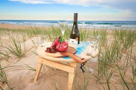 Handmade portable wooden wine table camping gear glamping outdoor equipment
