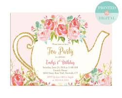 kids birthday party invitations girls tea party birthday invitation kids birthday party invitation baby shower bridal shower tea party printed or printable lr1050pk