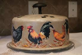 Rooster Kitchen Decor Rooster Cake Cover Keeperupcycled Vintageroosters And