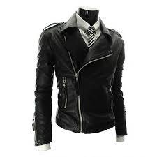 asymmetrical zip style mens slim fit leather biker jacket