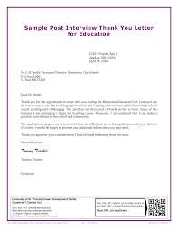 Free Teacher Post Interview Thank You Letter Templates At