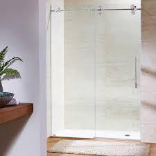 vigo 60 frameless shower door 3 8 clear stainless steel hardware com