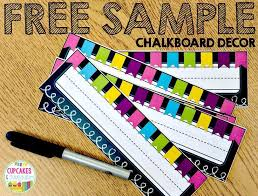 free sample of chalkboard decor including student numbers desk tags cupcakes curriculum