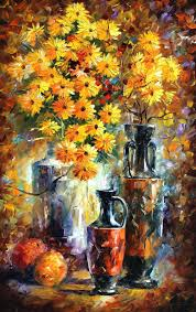yellow flowers palette knife oil painting on canvas by leonid afremov