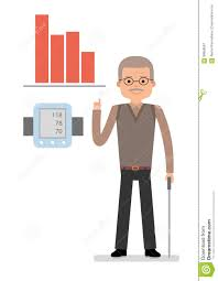 An Elderly Man Points To Chart Raise Blood Pressure Close