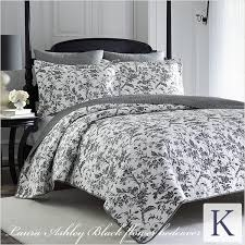 laura ashley blackflowerbedquilt three points set march cover quilt bedding brand laura ashley bedspread set 3 point set king multi cover 2 pillow case