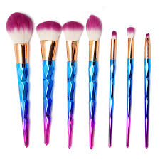 rainbow makeup brushes. 7pcs rainbow spiral handle makeup brushes foundation blush powder facial brush purple hair cosmetic