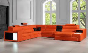 Divani Casa Polaris Contemporary Leather Sectional Sofa With Lights