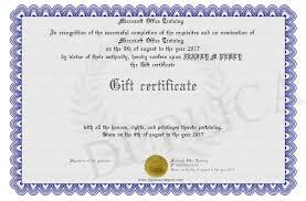 Microsoft Office Training Certificate Gift Certificate