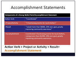 Accomplishment Statements Components ...