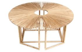 Shape Shifting Wood Fan Table Changes Squares to Circles