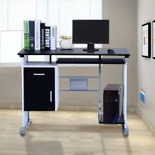homcom computer desk table home office furniture with keyboard tray and cpu stand desktop computer table k66
