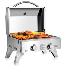 Costway Costway 2 Burner Portable Bbq Table Top Propane Gas Grill