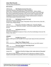 Cv Exemplars Academic Cv Examples