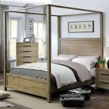 Garland King Canopy Bed in Light Oak wood Contemporary California ...