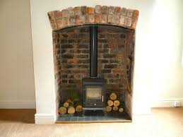 wood burning stove green recess google search exposed brick fireplacesopen