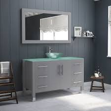47 gray vessel sink vanity set w glass countertop faucet and drain clark