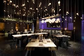 pendant lighting for restaurants. Contemporary Asian Restaurant Interior Design Awesome Bulbs Pendant Lighting Equipped With Purple Color Scheme Idea For Restaurants F