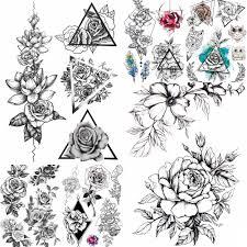 черная роза 3d водостойкая временная татуировка наклейки с