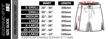 Cage Fighter Shorts Size Chart Engage Tropicana Mma Hybrid Fight Shorts