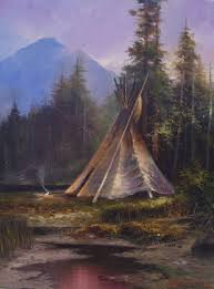 this is a painting by stefan baumann of an native american indian tee in camp by