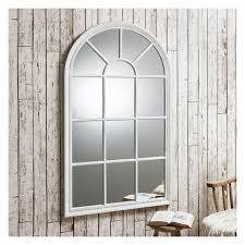 distressed white window mirror 140 x 80cm