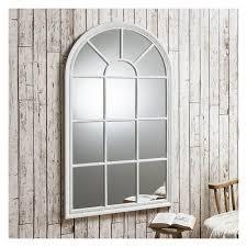 distressed white window mirror 140 x 80cm