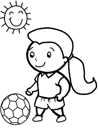 Small Picture A Cute Little Girl Playing Soccer in a Sunny Day Coloring Page