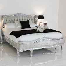 Silver Leaf Bedroom Furniture French Silver Leaf Double 4ft6in Button Upholstered Painted Bed