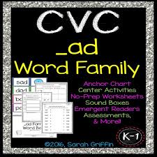 CVC ad Word Family Worksheets, Centers, Word Cards, and ...
