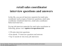 interview questions for s coordinator  retail s coordinator interview questions and answers