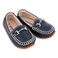 kids leather loafers in navy