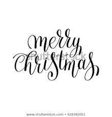 merry christmas black and white script. Modren White Merry Christmas Black And White Handwritten Lettering Inscription Holiday  Phrase Typography Banner With Brush Script Throughout Merry Christmas Black And White Script
