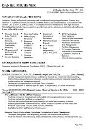 resume of financial analyst entry level finance analyst resume sample financial for a job