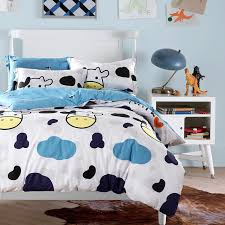 cow print bedding blue white cloud and cow print bedding sets queen king size cotton fabric