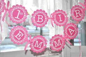 Pink Banners 1st Birthday Banner Polkadots Pink And White Personalized With Name Girls Birthday Party Decorations