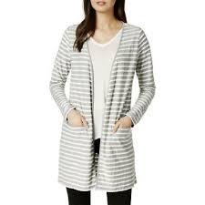 Maison Jules Size Chart Maison Jules Womens Gray Scalloped Knit Duster Cardigan Top