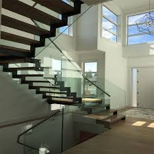 Staircase Side Railing Designs Hot Item Double Side Stinger Wooden Tread Straight Staircase With Glass Railing Design