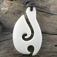 bone maori hook pendant leather cord necklace view images
