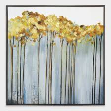tall trees wall art in black frame on black white blue wall art with tall trees wall art in black frame world market