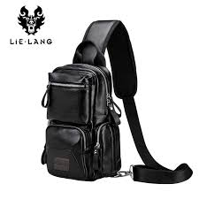 <b>LIELANG Chest bag leather</b> men brand bag casual multi function ...