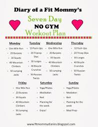 diary of a fit mommy s 7 day no gym workout plan