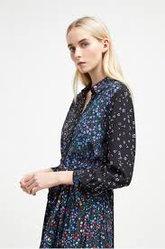 Aubine Pleated Floral Midi Shirt Dress