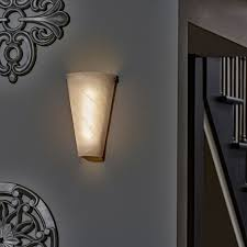 battery powered wall sconce frosted marble conical shade indoor outdoor