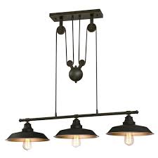 Pulley Ceiling Light Fixture Three Light Pulley Pendant Light Lamp Adjustable Industrial Chandelier Vintage Ceiling Lights Fixture For Kitchen Island Dining Room Foyer Kitchen