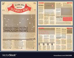 Vintage Newspaper Template Free Design Template Of Vintage Newspaper Royalty Free Vector