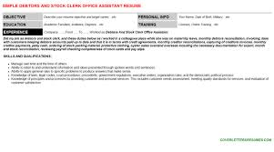 Debtors And Stock Clerk Office Assistant Resume & Cover Letter | Cv ...