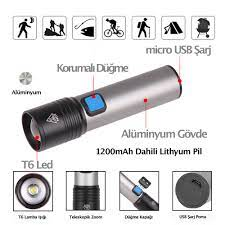 Gzlidy S-230 USB Şarjlı LED Işık Su Geçirmez Outdoor Kamp Zoom'lu El Feneri  – Dodobees Teknoloji